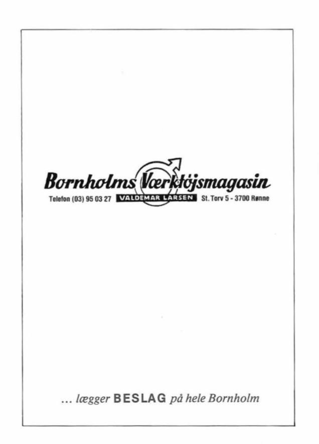 Bornholms Værktøjsmagasin ved Valdemar Larsen - Reklame 1984