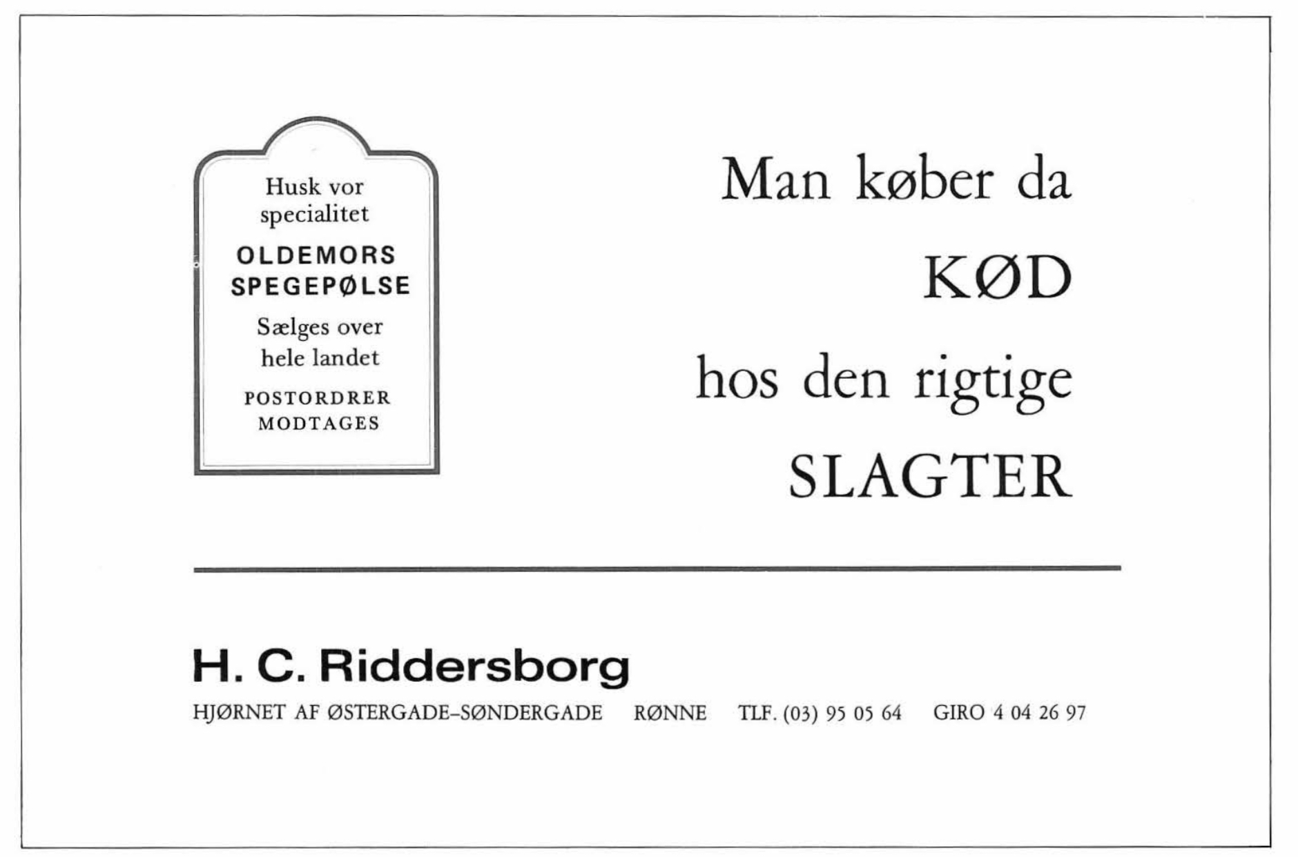 H. C. Riddersborg - Reklame 1984
