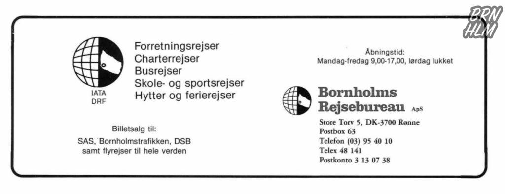 Bornholms Rejsebureau - Reklame 1984