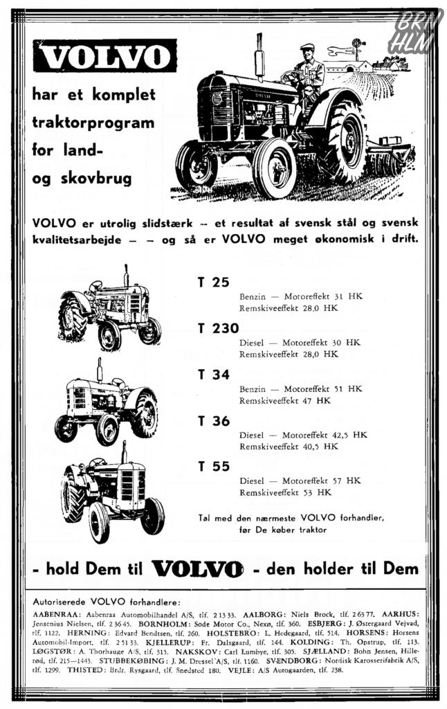 En reklame for Volvo traktorer fra Sode Motor Co. - 1957