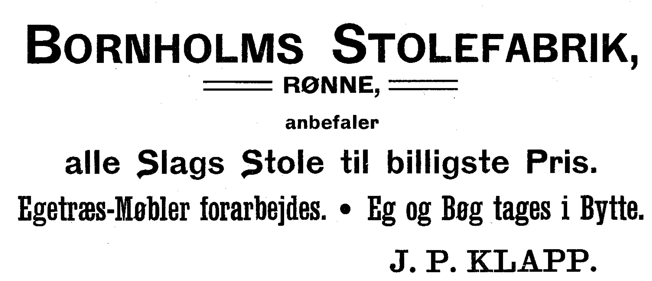 Reklame for Bornholms Stolefabrik - 1910