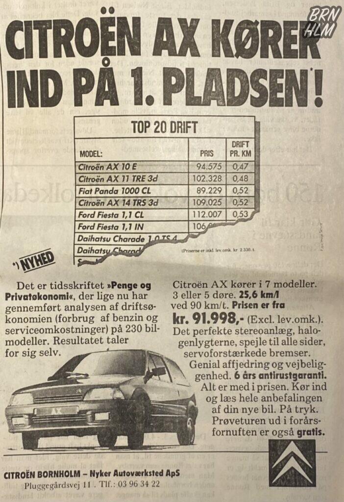 Citroën - Nyker Autoværksted - AX reklame