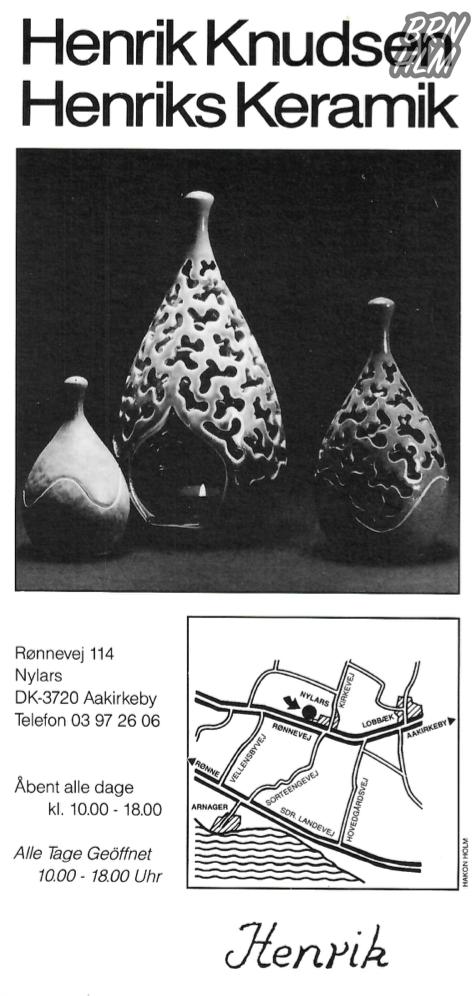 Henrik Knudsen - Henriks Keramik - Flyer fra omkring år 1990